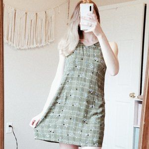 AE Vintage Green Checkered Floral Mini Dress sz 8